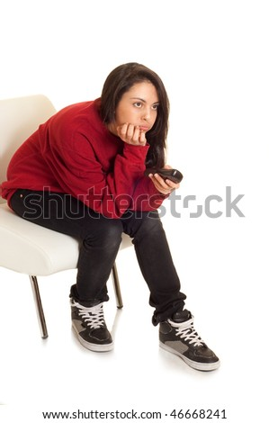 girl with remote control - stock photo