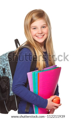 girl with schoolbag holding folder and smiling - stock photo