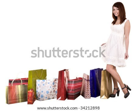 Girl with shopping bag wait for  taxi. Isolated. - stock photo
