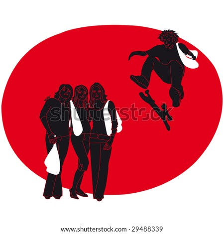 3 girls and a boy with a skateboard - stock photo