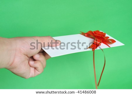 give you a greeting card - stock photo
