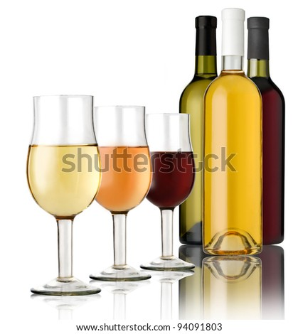 3 Glass  and 3 bottles wine on a white background - stock photo
