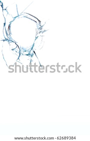 Glass   broken  hole - stock photo