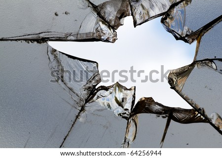 Glass  broken   hole  cracks