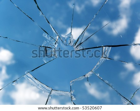 Glass  broken  window - stock photo