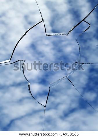 Glass  broken   window - stock photo