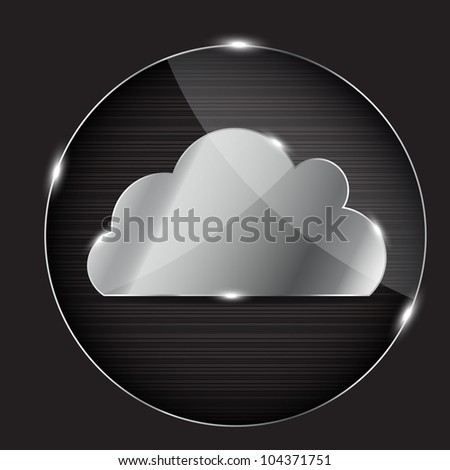 glass button with cloud icon - stock photo