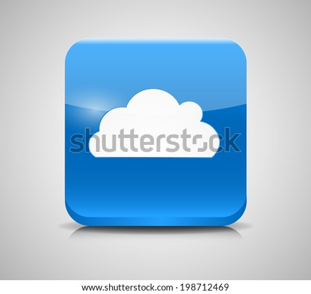 Glass Button with Cloud Icon. - stock photo