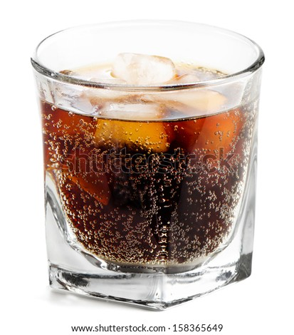 Glass of cola isolated on white background - stock photo