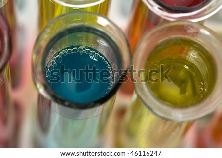 Glass test tubes filled with liquid on a rack for an experiment - stock photo