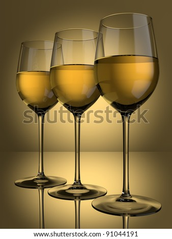 3 glasses of white wine on a lit background - stock photo