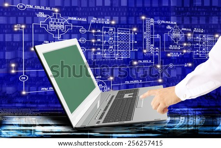 Global  innovative computer Internet technologies for engineering designing business - stock photo
