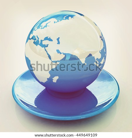 Globe on a saucer on a white background. 3D illustration. Vintage style.