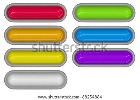7 glossy 3d tubes in different colors embedded in white