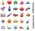 * Glossy Holiday Icon Set - stock photo