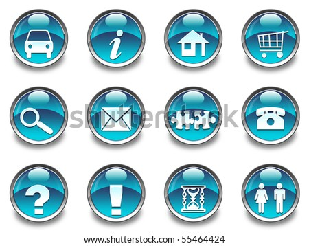 12 glossy icons - stock photo