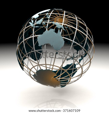 Glossy metallic globe continents on a metal grid facing Australia and Antarctica - stock photo