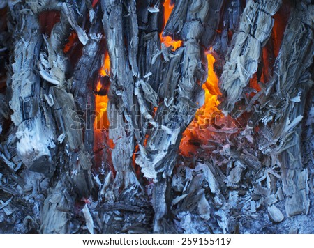 Glowing charcoal closeup background - stock photo