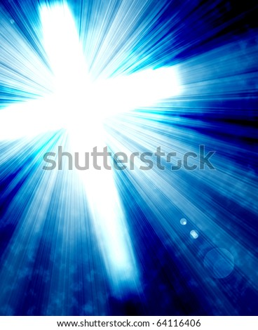 glowing cross with radial rays of light - stock photo
