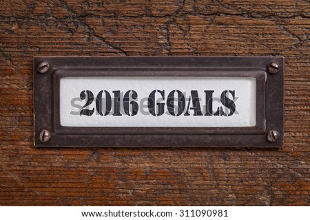 2016 goals  - a label on a grunge wooden file cabinet, New Year goals and resolutions concept