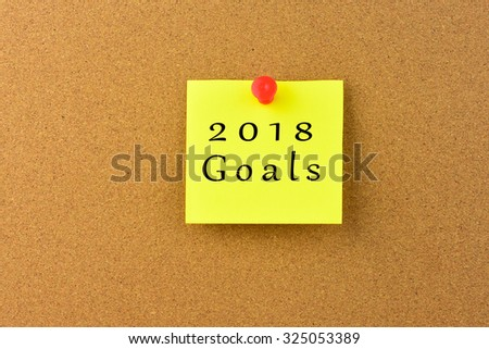 2018 Goals on a Noticeboard.