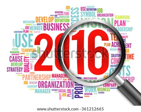 2016 goals plan word cloud with magnifying glass, business concept
