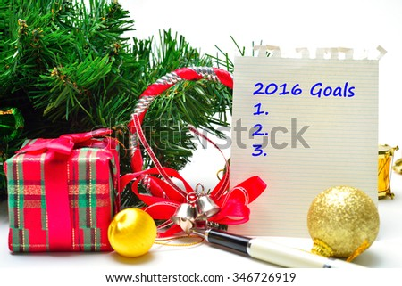 2016 Goals Text on the background
