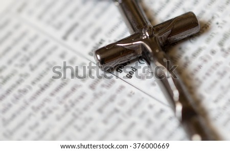 """GOD"" word with cross  - stock photo"