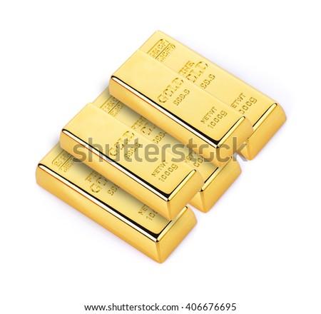 gold bars isolated on white background - stock photo