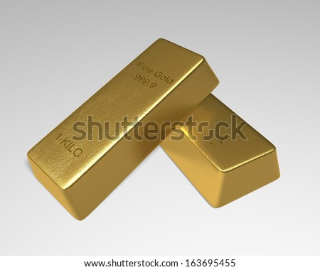 2 Gold Bars one 1 kilo fine gold bar stack slanted on top of another on white background. 3D rendered. - stock photo