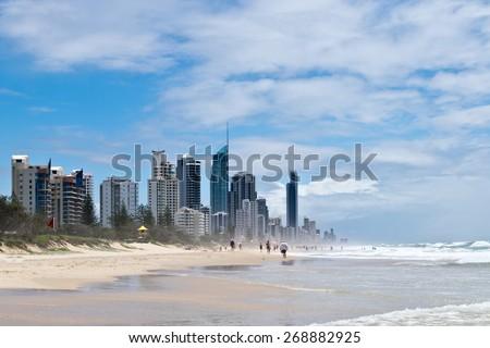 Gold Coast beach with skyscraper in Austarlia  - stock photo