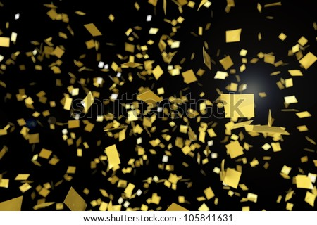 Gold confetti falling against a black background - stock photo