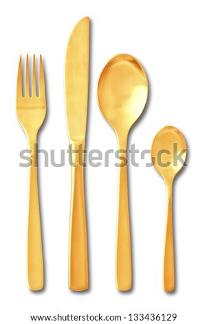 gold Cutlery set with Fork, Knife and Spoon on white background , keeping path - stock photo