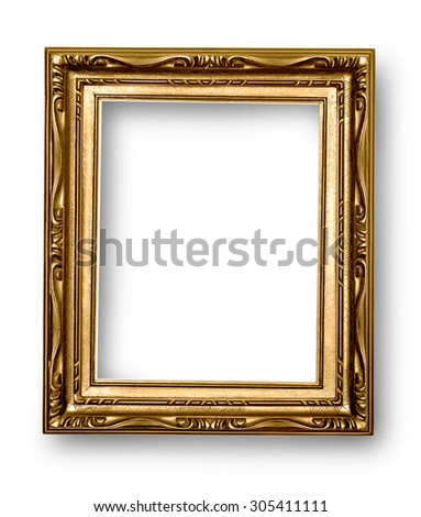 Gold frame isolated on white background with clipping path - stock photo