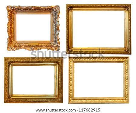 4 gold frames. Isolated over white background with clipping path - stock photo