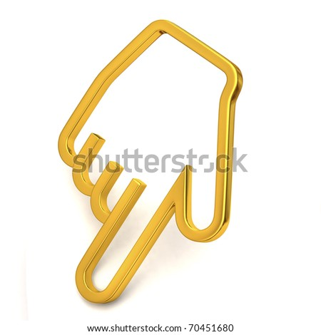 Gold hand cursor - stock photo