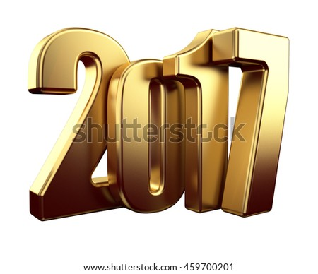 2017 gold new year 3d rendered image