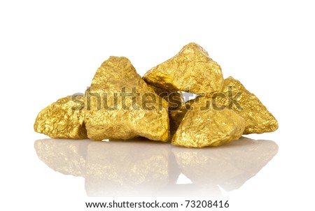 gold nuggets isolated on white - stock photo