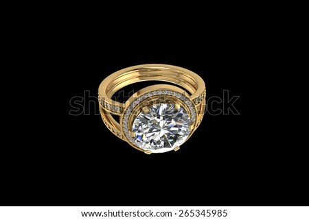Gold ring on black background