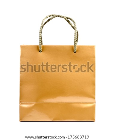 Gold shopping bag on a white background. - stock photo