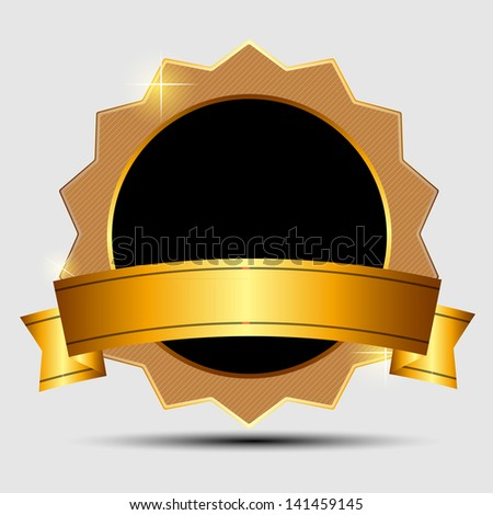 gold sign, label template - stock photo