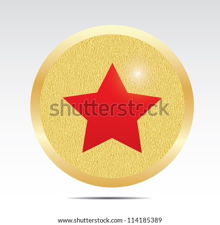 Gold star button. - stock photo
