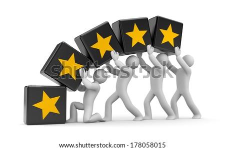 5 gold stars. Teamwork metaphor - stock photo
