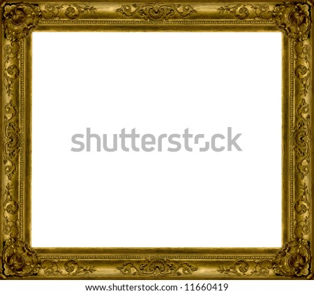 gold wooden frame - stock photo
