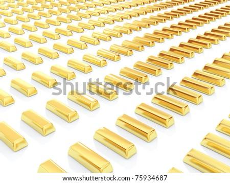 Golden bars isolated on white background - stock photo