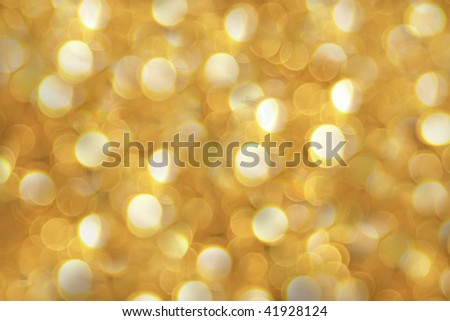 Golden bokeh of christmas lights with beautiful sparkling and diffusion - stock photo