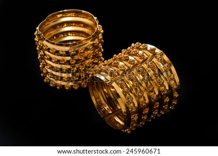 Golden  ?Bracelet - stock photo