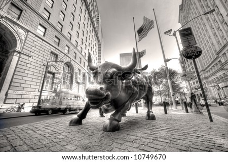 Golden Bull - symbol of wall street ,Manhattan,new York,United states of America - stock photo