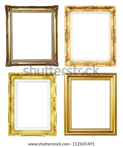 4 golden frame on white background - stock photo