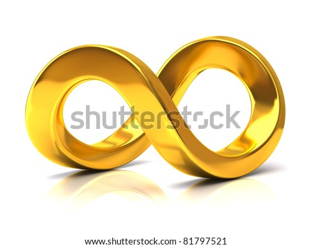 Golden Infinity Symbol - stock photo
